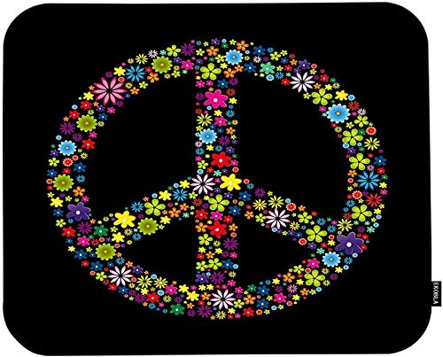 Symbol of Peace Sign Mouse Pad Colorful Wildflowers Abstract Art Design Black Background Gaming Mouse Mat Non-Slip Rubber Base Thick Mousepad for Laptop Computer PC 9.5x7.9 Inch