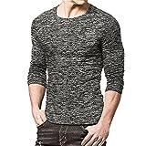 Sunnyuk Camiseta Térmica Hombre, Cuello Redondo Delgado, Estilo Básico Desfile de Moda para Todo Partido