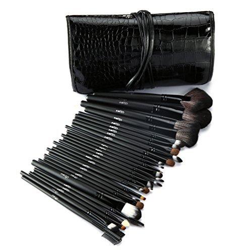 """""""Ensemble de pinceaux de maquillage Glow Black - Ensemble de 30 pièces pour le maquillage du visage et des yeux - Kit de pinceaux polyvalents avec étui en similicuir - Couleur noire"""""""