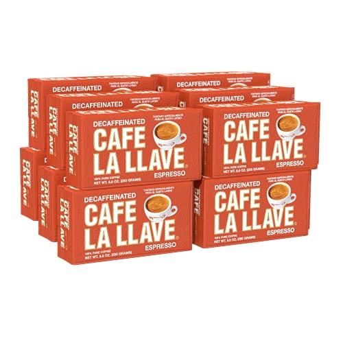 Cafe La Llave Decaf Espresso Dark Roast Coffee (Pack of 12)