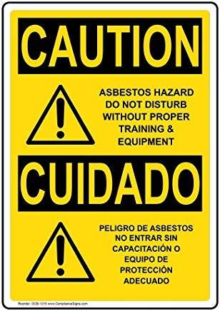 Wendana Voorzichtigheid Asbest Gevaar Niet Storen Zonder Juiste Training & Uitrusting Engels + Spaans Osha Veiligheidsbord, Aluminium, Metalen waarschuwingsborden, Privébord, Kennisbord, 8