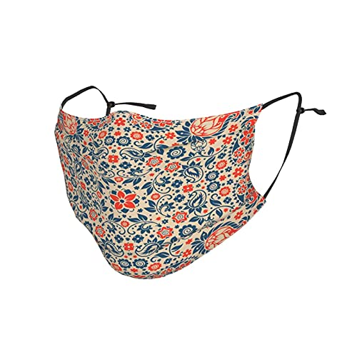 Comfortable Printed mask,Arabesque Floral Ornate Pattern Cultural Folk Persian Middle Eastern,Windproof Facial decorations for man and woman