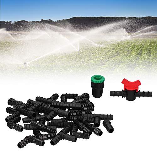 Wosune Conector de pulverización, Accesorios de jardín, Accesorio de riego por Goteo, desvío G1 / 2 34 Piezas/Juego para invernaderos de Camas de jardín elevadas