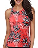 Holipick High Neck Tankini Top Bathing Suit Tops for Women Tummy Control Tank Tops Swimsuits Red Floral S