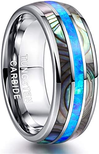 SDLAJOLLA Tungsten Rings for Men Dome Abalone Shell Blue Center Wedding Bands for Men Women product image