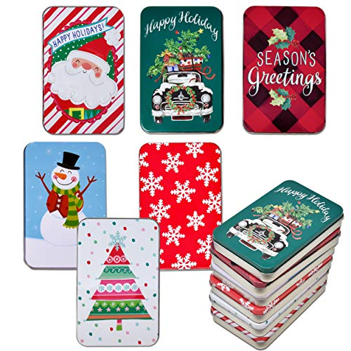 Christmas Holiday Gift Card Tin Holder Boxes 6 Pack Winter Design Gift Cards Box Money Storage Container Holders with Lids by Gift Boutique