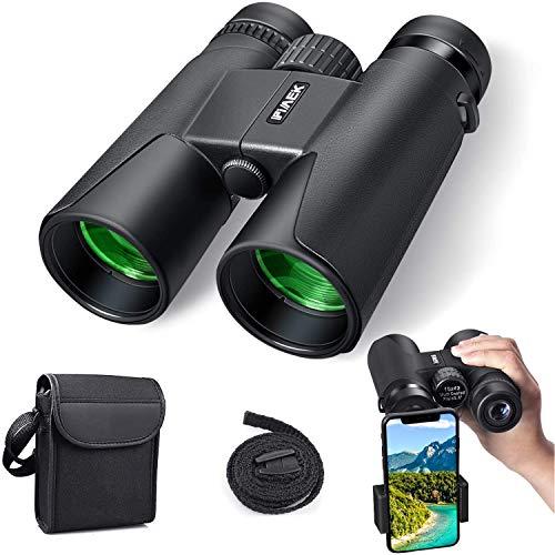 Fernglas 10x42 Kompakte Ferngläser Professionelle Feldstecher HD Wasserdicht Binoculars, für Vogelbeobachtung, Wandern, Jagen, Sightseeing, FMC-Linse, Tragetasche und Smartphoneadaptera