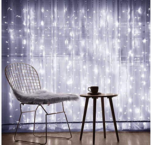AIDDOMM 300 LED Curtain Lights, for Bedroom Outdoor Indoor, Waterproof, Cool White, 8Modes