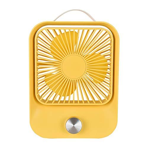 Lomelomme Mini ventilador portátil recargable con luz LED portátil para casa, oficina, viajes, camping, exterior e interior, amarillo, Talla única