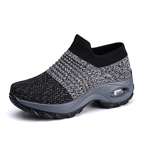 [Biokosca] スニーカー レディース ウォーキングシューズ ナースシューズエアクッション ウォーキング 厚底 身長アップ5CM 船型底ナースシューズ 作業靴 看護師 婦人靴 矯正靴軽量 通気-グレー25.5 cm
