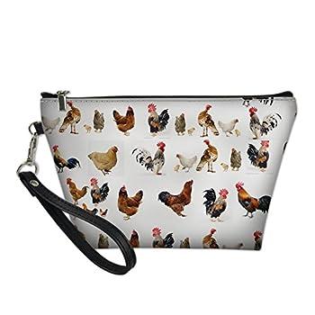 INSTANTARTS Women Travel Cosmetic Bag Chicken Organizer Makeup Pouch Toiletry Case Clutch Handbag