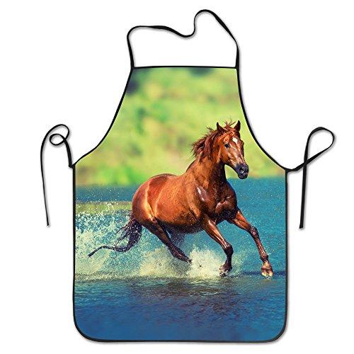 Paard lopen over de rivier Duurzame Unisex Grilling Schort