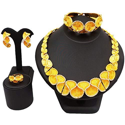 xtszlfj Conjuntos de joyería de Cadena para Mujer Conjunto de Collar de Pilar de Cristal Pendientes de botón Joyería de Anillo Conjuntos de joyería de Hiphop/Rock