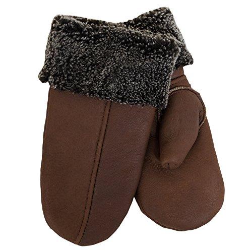 SamWo, Handschuhe/Fäustlinge für Damen, 100% Lammfell, Größe: M, mittelbraun