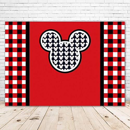 7x5 Red and Black Photography Backdrop Mickey Mouse Seamless Photo Background Birthday Tabletop Custom Name and Photos Photo Studio Background Cloth