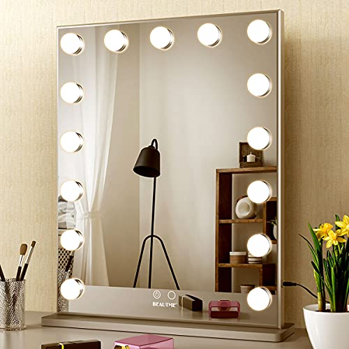 Hollywood Makeup Mirror with Lights,Vanity Mirror with 15pcs Adjustable Led Lights,Tabletop or Wall Mounted Dressing Illuminated Cosmetic Beauty Mirror Adjustable Brightness BEAUTME (silver)
