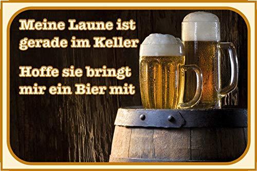 FS spreuk Bier Meine Laune in de kelder. Metal Sign Metal Sign 20 x 30 cm