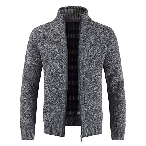 hengtong Mountainskin Men's Sweaters Autumn Winter Cardigan Warm Knitted Sweater Jackets Coats Male Clothing Casual Knitwear SA835 (Color : Dark Grey, Size : XL)