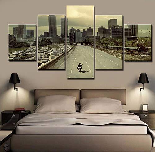 Moderne Leinwandbilder Hd Gedruckt Wandkunst Rahmen Wohnzimmer 5 Stücke Walking Dead Filmszene Wohnkultur Gemälde Poster(NO Frame size 3)