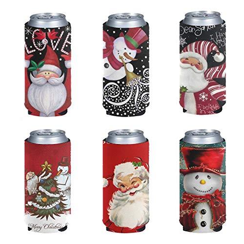 Pizding Paquete de 6 enfriadores de latas de cerveza en blanco de alta calidad para bebidas refrescantes, aislantes plegables para latas, monogramas, proyectos de bricolaje, bodas, fiestas, eventos