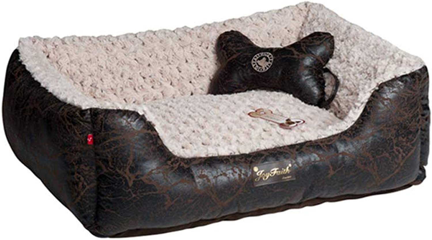 HQSB Pet bed Soft Luxurious And Comfortable Square Cat Dog Bed With Anti Slip Base (color   BLACK, Size   S)