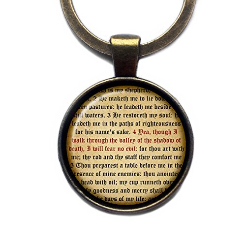 Psalm 23 Verse 4 King James Version KJV Bible Bibel Keychain Bronze Schlüsselanhänger