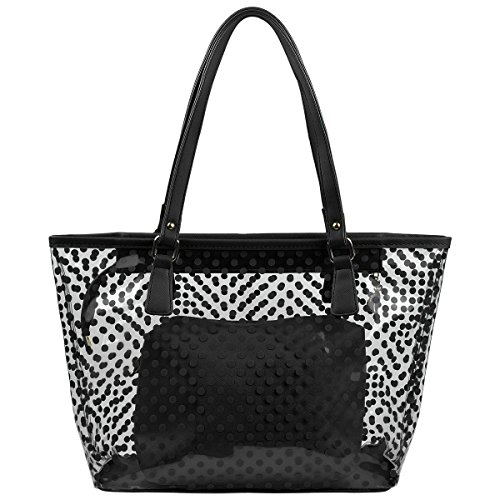 MICOM Cute Neno Candy Color Polka Dot Clear Bags Beach Tote Shoulder Handbag (Black)