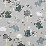 SCHÖNER LEBEN. Baumwolljersey Jersey Elefanten Regenschirm