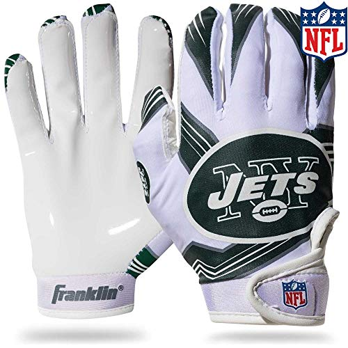 Franklin Sports New York Jets Youth NFL Football Receiver Gloves - Receiver Gloves for Kids - NFL Team Logos and Silicone Palm - Youth S/XS Pair