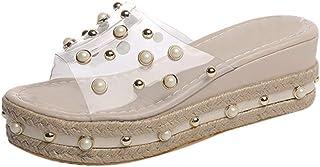 Sandalias Cuña Mujer Verano 2020 Plataforma Impermeable Sandalias Transparentes de Perlas Zapatos de Boca de Pescado Playa...
