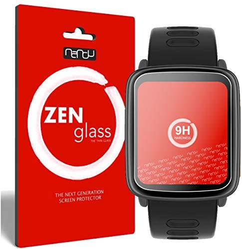 ZenGlass Nandu (2 Pezzi) Pellicola Protettiva in Vetro Compatibile con Yamay SW018 Smartwatch I Protezione Schermo 9H I (più Piccolo del Display Curvo)