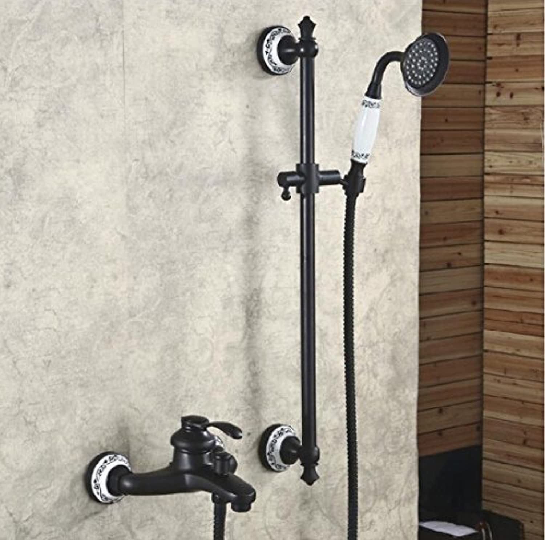 Luxurious shower Hohe Qualitt schwarz Messing antik dual Badewanne Griff und Wasserhahn mit Dusche Badewanne Armatur set Dusche, schwarzes l, gebürstet