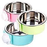 YEIRVE Crate Dog Food Water Bowls, 2-in-1 Plastic Kennel Bowl & Stainless Steel Pet Bowl, Removable Hanging Cat Food Bowls, Feeder Coop Cup Perfect for Cat, Puppy, Birds, Rats, Ferret, Guinea Pigs.