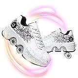 HealHeatersⓇ Zapatos con Ruedas Zapatos Deportivos Patines Ruedas Zapatos Ruedas Entrenamiento para Niñas Niños Patines con Ruedas Dobles Botón Ajustable