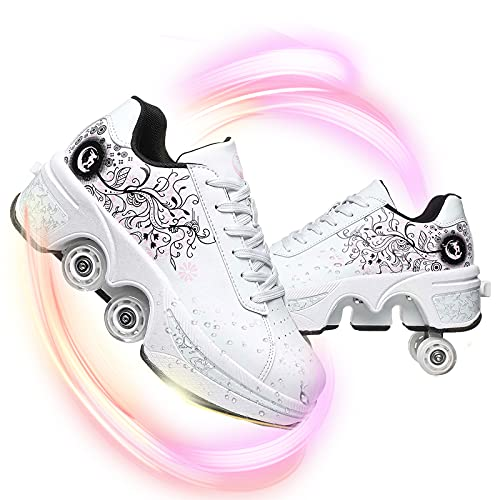 HealHeatersⓇ Jungen Mädchen Roller Schuhe Sport im Freien Training Skate Turnschuhe Schuhe Mit Vier Rädern 2-in-1-Mehrzweckschuhe