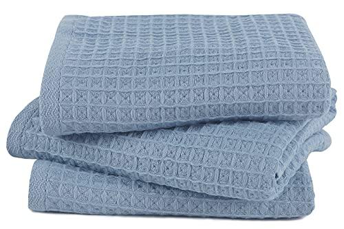 Cozyone バスタオル 綿100% ワッフル タオル 3枚セット 瞬間吸水 速乾 ばすたおる かわいい おしゃれ ギフト 薄手 約60*120cm (ブルー)