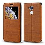 Custodia per Huawei Honor 6A, in pelle a grana di legno con porta carte e finestra, chiusura magnetica a libro per Huawei Honor Holly 4
