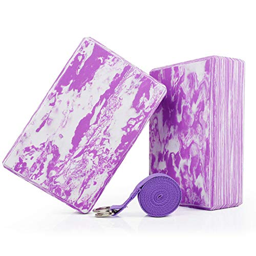 WayEee Yoga Blocks Set of 2, Yoga Block with Strap Set High Density EVA Foam Brick Durable &...
