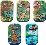 Lively Moments Pokémon - Juego de cartas coleccionables (5 minicajas de lata de Pikachu, Glumanda, Bisasam, Evoli y Schiggy de Alemán, en caja de metal)