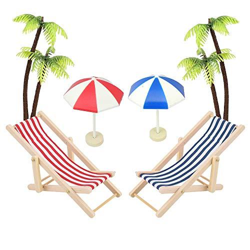 witgift 6 STK Strand-Mikrolandschaft Miniatur Strand Stuhl Mini Liegestuhl Deko Palme Sonnenschirm Micro Landschaft
