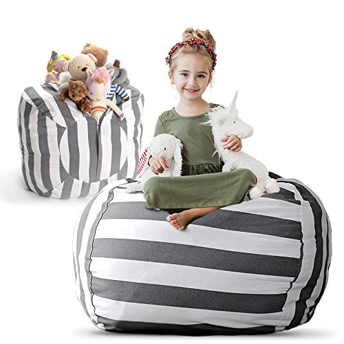 Creative QT Stuffed Animal Storage Bean Bag Chair - Extra Large Stuff 'n Sit Organization for Kids Toy Storage - Available in a Variety of Sizes and Colors (38', Grey/White Striped)