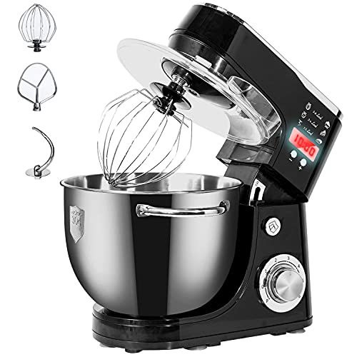 WantJoin LCD Display Stand Mixer for Baking, 6 Speeds Food Mixer, Electric Kitchen Mixer with 5L Stainless Steel Mixing Bowl & K-Beater & Dough Hook & Whisk & Removable Splash Guard (1000W, Black)