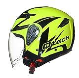 Qtech Jet Casco Moto Helm Doppia Visierra Parasole Nero Opaco Vespa EC 22-05 Approvato Giallo...