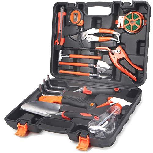 Scuddles Garden Tools Set - 12 Piece Heavy Duty Gardening Tools with Storage Organizer, Ergonomic Hand Digging Weeder, Rake, Shovel, Trowel, Sprayer, Gloves Gift for Men & Women