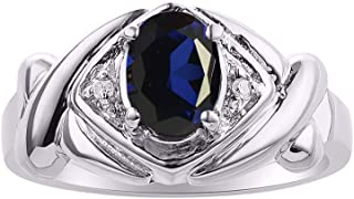 Diamond & Blue Sapphire Sapphire Ring Set In Sterling Silver - XOXO Hugs & Kisses Design