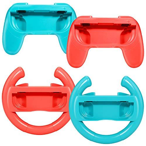 yidenguk 2 poignées et 2 commandes au volant pour Nintendo Switch Joy-Con, Confort ergonomiques pour manette Compatible avec Joy-Con Droite ou Gauche pour Nintendo Switch, rouge et bleu