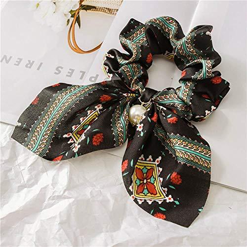 Bandeau Doux Femmes Perles Arc Cheveux Corde Anneau pour Dame Filles Cheveux Chouchous Élastique Bandes De Cheveux Titulaire De Queue De Cheval Accessoires De Cheveux-Noir