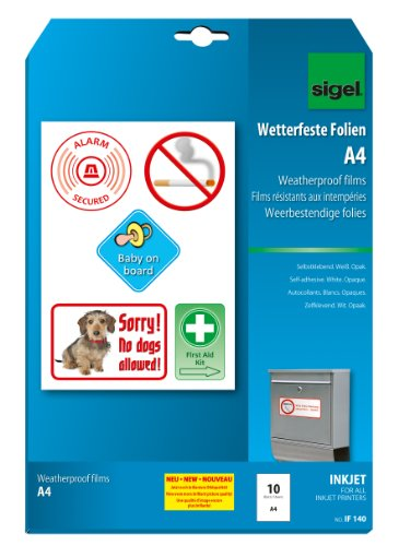 SIGEL IF140 InkJet-Folien A4, 10 Blatt, wetterfest, opak, selbstklebend, für Innenanwendungen und kurzfristige Außeneinsätze