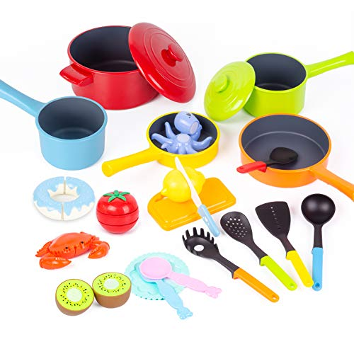 Yellcetoy Play Food Pretend Food Toys Play Kitchen Accessories Role Play Cutting Toy Food Set with Cookware Pots Pans Set Educational Cooking Toys for Kids Girls Boys Age 3 4 5 6