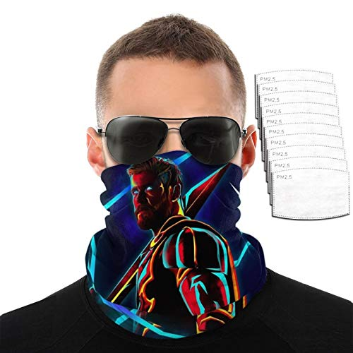 AMSYES Superhero-Thor Neckpiece With 10 Filter For Hiking Facial Protection,Black Neck Gaiter For Youth 9.8in×19.7in